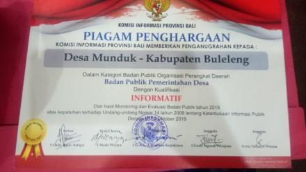 PPID Desa Munduk masuk 10 besar Kualifikasi Desa Informatif pada  Komisi Informasi (KI) Award